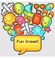 Cute travel background with kawaii doodles Summer vector image vector image