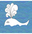 cute unusual cartoon decorative whale in the sea vector image vector image