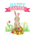 easter greeting card cute bunny colorful eggs vector image vector image