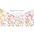 Engagement invitation card with watercolor flowers vector image