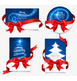 Gift cards with red bows vector image