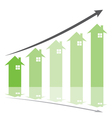 Green graph show home price increase stcok vector image vector image