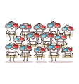 group people with 3d glasses vector image