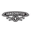 handcrafted design or badge with hammers vector image vector image