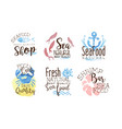 lettering on theme sea food on a watercolor vector image vector image