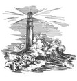 lighthouse lighthouse in the dark and sea vector image vector image