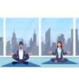 man and woman meditates vector image vector image