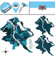 map of riga latvia with districts vector image vector image