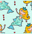 mermaid seamless pattern kawaii maritime princess vector image