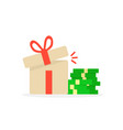 open gift box with pile of money vector image vector image
