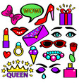pop art girlish fashion sticker color set vector image vector image