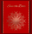 postcard save the date in red and gold vector image vector image