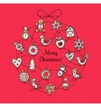 Red greeting card with Christmas wreath vector image vector image