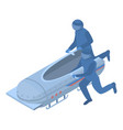 running men bobsleigh icon isometric style vector image vector image