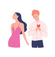 sad man trying to present his heart to woman vector image