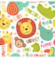 seamless pattern with heads jungle animals vector image vector image