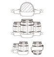 set barrels with labels vector image vector image