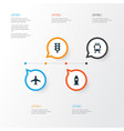 shipment icons set collection of aircraft vector image vector image