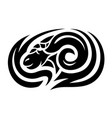 tribal tattoo art with stylized black ram head vector image vector image