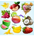 Set of colorful fruit ice cream and coctail vector image