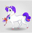 beautiful cartoon walking unicorn with purple vector image