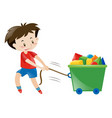 boy in red shirt pulling toys vector image vector image