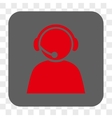 Call Center Operator Rounded Square Button vector image