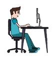 cartoon man sitting using laptop on desk design vector image vector image