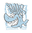 cartoon shark t-shirt print design vector image