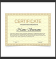 certificate template with yellow designe borders vector image vector image