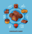 chocolate candies flat composition vector image vector image