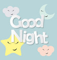 cute good night kids background vector image vector image