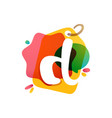 d letter logo with sale tag icon watercolor vector image vector image