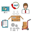 Delivery and logistics service icons vector image