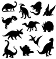 Dinosaur silhouettes collection vector image