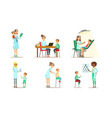 doctor doing medical examination and vaccination vector image vector image