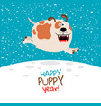 dog running on snow vector image vector image