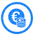 euro coin stack rounded icon rubber stamp vector image