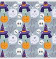 happy halloween witch face skulls pumpkin hat vector image vector image