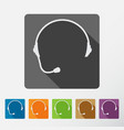 headphone square icons set of support with long vector image vector image