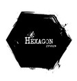hexagon shape grunge style vector image vector image