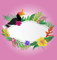 hornbill and floral with copy space background vector image vector image