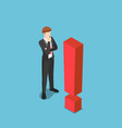 isometric curious businessman standing vector image
