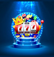 king slots 777 banner casino on golden vector image vector image