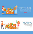 moving time inscription on banner woman in house vector image vector image