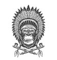 native american indian chief gorilla head vector image vector image