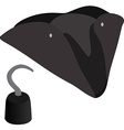 Pirate hat and hook vector image vector image
