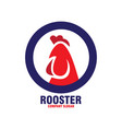red rooster with blue circle vector image vector image