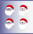 santa masks beard nose mustache hat glasses vector image