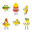 set fast food cartoon vector image vector image